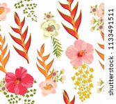 seamless pattern with tropical... | Shutterstock .eps vector #1133491511