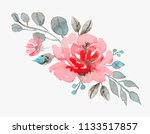 handmade watercolor rose vector ... | Shutterstock .eps vector #1133517857
