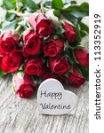 happy valentine with roses and heart - stock photo