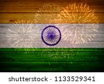 indian flag painted on wooden...   Shutterstock . vector #1133529341