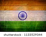 indian flag painted on wooden...   Shutterstock . vector #1133529344