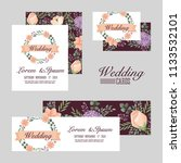 wedding set cards flowers... | Shutterstock .eps vector #1133532101