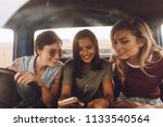group of young women traveling... | Shutterstock . vector #1133540564