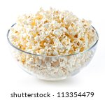Glass Bowl With Popcorn On...