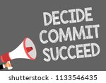 text sign showing decide commit ... | Shutterstock . vector #1133546435