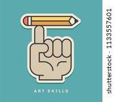 art skills sticker. thin line ... | Shutterstock .eps vector #1133557601