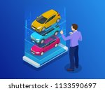 isometric buy a car or rental a ... | Shutterstock .eps vector #1133590697