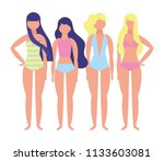 women with swimsuit character   Shutterstock .eps vector #1133603081