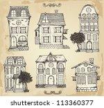 Hand Drawn Vintage Homes