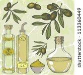 hand drawn olive set | Shutterstock .eps vector #113360449