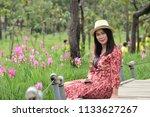 siam tulip  asia woman walking  ... | Shutterstock . vector #1133627267