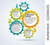 colorful 3d gears teamwork... | Shutterstock .eps vector #113366101