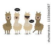 cute alpaca vector. animal... | Shutterstock .eps vector #1133666087