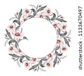 watercolor floral frame.... | Shutterstock . vector #1133670497