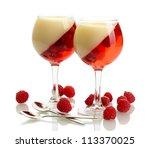 fruit jelly with raspberries in ... | Shutterstock . vector #113370025