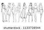 stylish fashion models. pretty... | Shutterstock . vector #1133728544