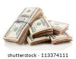 stacks of one hundred dollars... | Shutterstock . vector #113374111