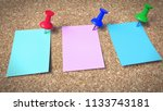 push pins on paper notes placed ...   Shutterstock . vector #1133743181