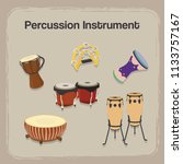 set percussion instrument with... | Shutterstock .eps vector #1133757167