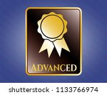 gold shiny emblem with ribbon... | Shutterstock .eps vector #1133766974