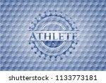 athlete blue hexagon emblem.   Shutterstock .eps vector #1133773181