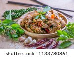 spicy stir fried duck with... | Shutterstock . vector #1133780861