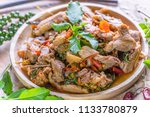 spicy stir fried duck with... | Shutterstock . vector #1133780879