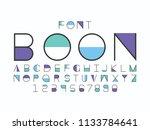 boon blue font. vector alphabet ...   Shutterstock .eps vector #1133784641