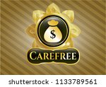 shiny badge with money bag... | Shutterstock .eps vector #1133789561