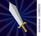 shining sword. cartoon vector... | Shutterstock .eps vector #113382211