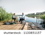 landscape view on the lake with ... | Shutterstock . vector #1133851157