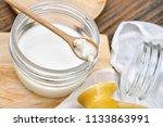 kefir milk  close up of hand... | Shutterstock . vector #1133863991