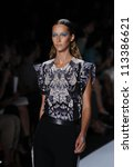 NEW YORK - SEPTEMBER 08: Model walks the runway for Monique Lhuillier Collection during Spring/Summer 2013 at Mercedes-Benz Fashion Week on September 8, 2012 in New York - stock photo