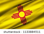 new mexico 3d waving flag...   Shutterstock . vector #1133884511