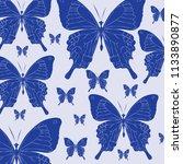 blue butterflies texture... | Shutterstock .eps vector #1133890877