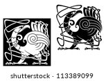 angry bird in celtic style with ... | Shutterstock .eps vector #113389099