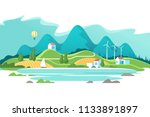 summer landscape with houses on ... | Shutterstock .eps vector #1133891897
