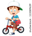 illustration of boy on a bicycle vector - stock vector