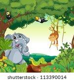 illustration of a forest scene...   Shutterstock . vector #113390014