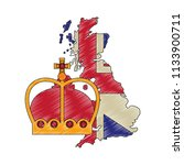 map great britain with king... | Shutterstock .eps vector #1133900711