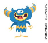 happy cartoon monster with... | Shutterstock .eps vector #1133901347