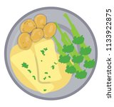 in a plate broccoli  cheese...   Shutterstock .eps vector #1133922875