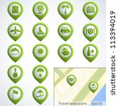 travel web buttons set with map.... | Shutterstock .eps vector #113394019