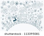 Christmas hand drawn doodle background with place for text, cute illustration, vector - stock vector