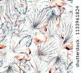 flamingo pattern. tropical... | Shutterstock . vector #1133961824