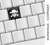 Raster version. Keyboard with Skull button. Illustration for design - stock photo