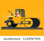 flat cartoon road roller | Shutterstock .eps vector #1133967554