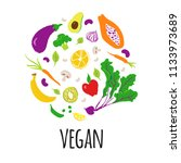 vegan vector  illustration with ... | Shutterstock .eps vector #1133973689