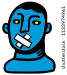 man silenced because he has a... | Shutterstock .eps vector #1133974961