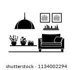 interior home. black silhouette ... | Shutterstock .eps vector #1134002294